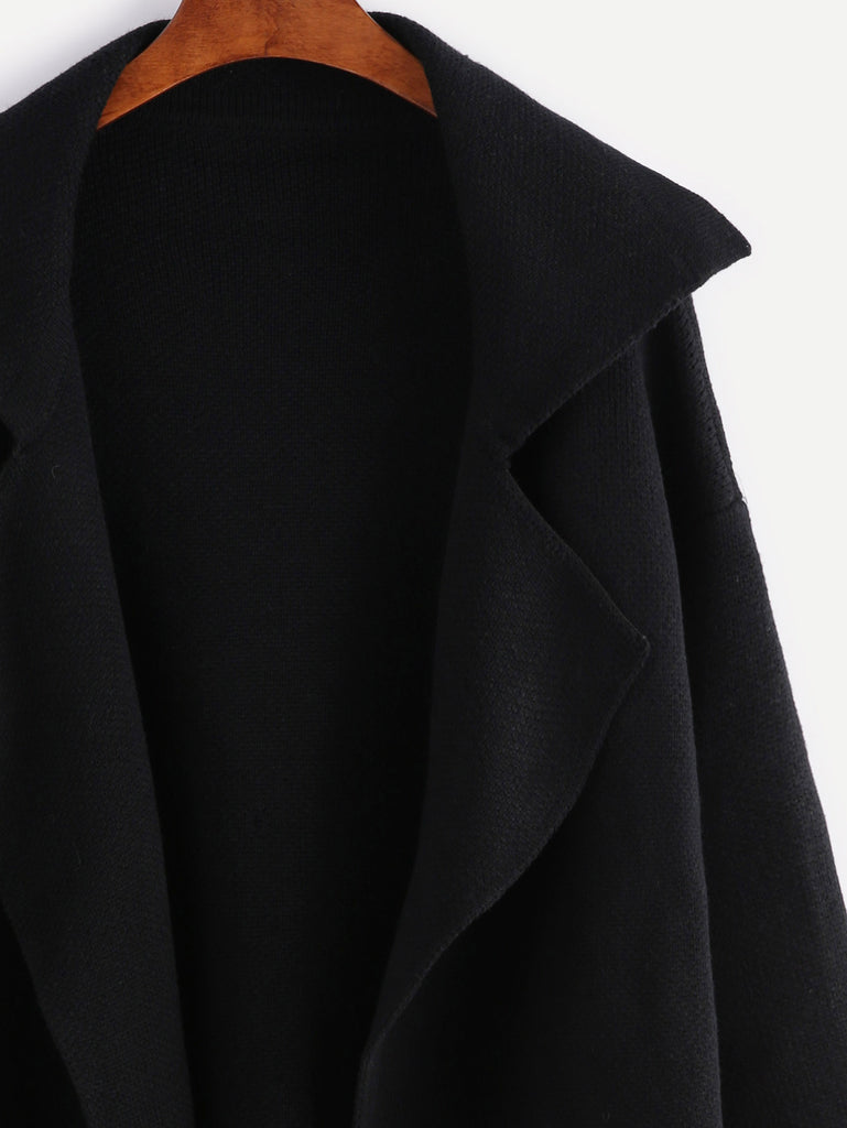Black Notch Collar Open Front Sweater Coat (2)