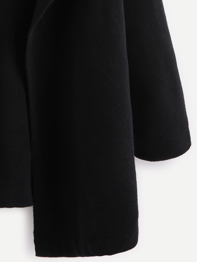 Black Notch Collar Open Front Sweater Coat (3)