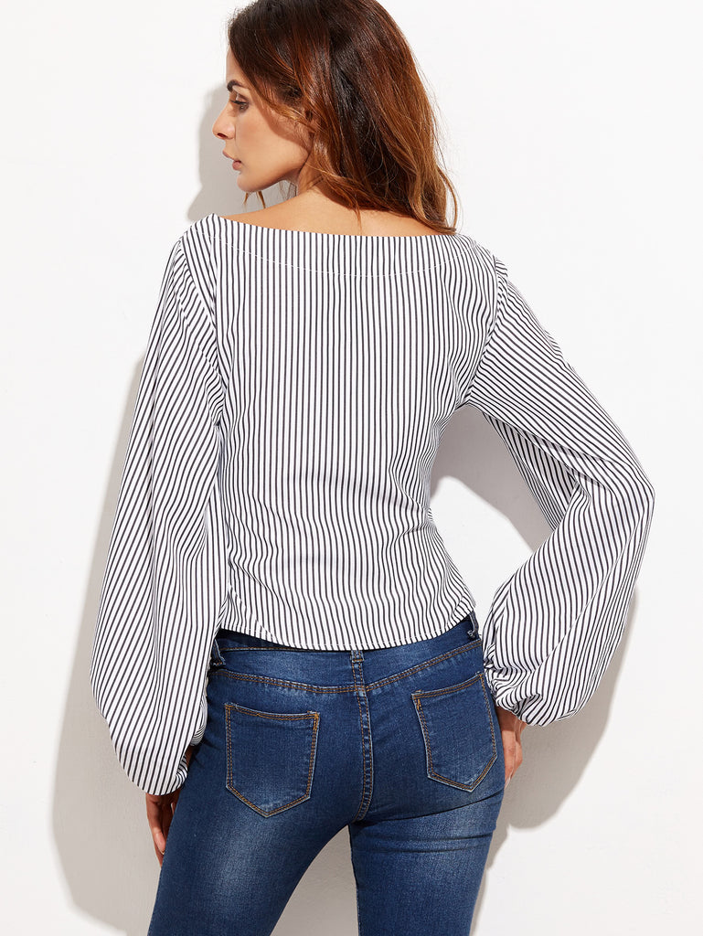Exaggerated Lantern Sleeve Striped Top (2)