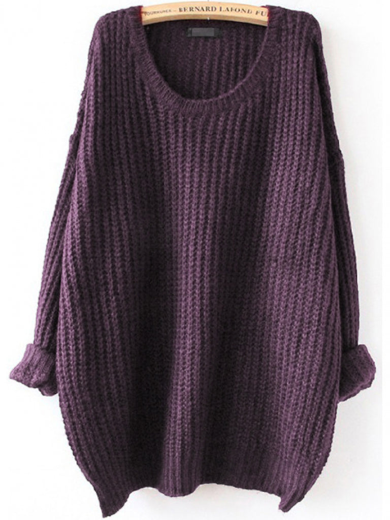 Drop Shoulder Textured Roll-Up Sweater