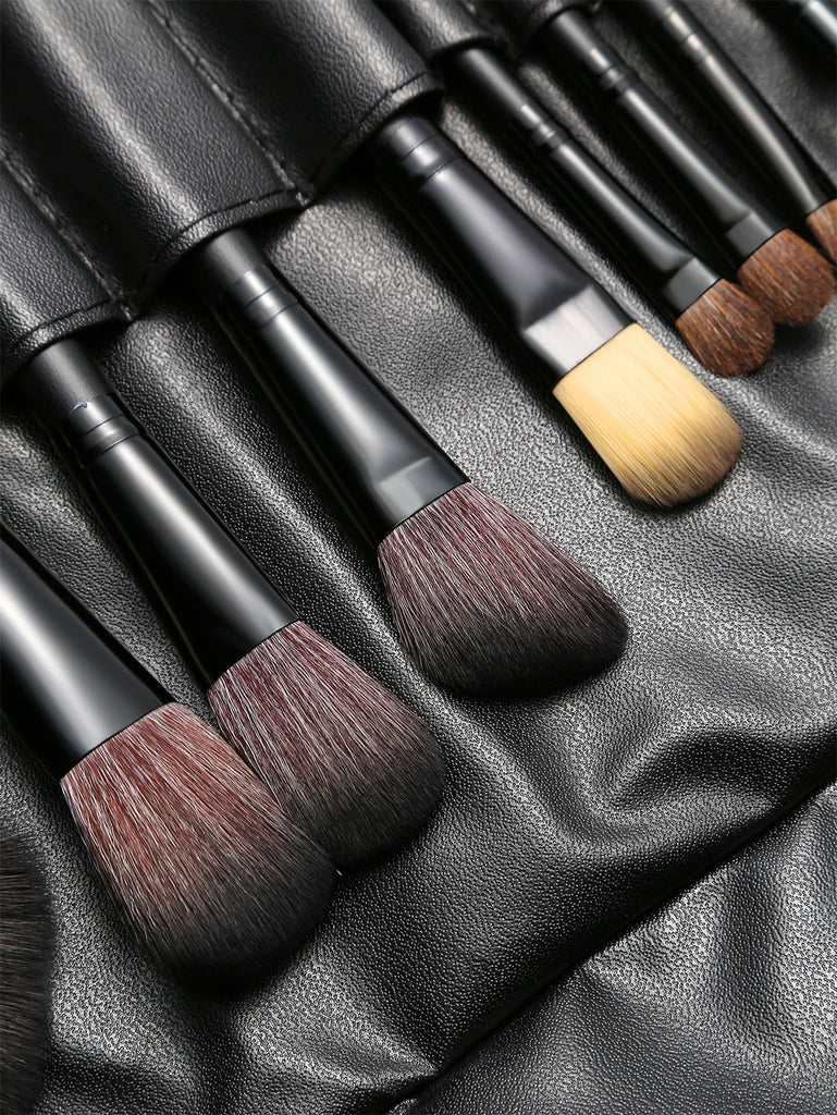 24Pcs Black Professional Makeup Brush Set with Leather Bag (2)