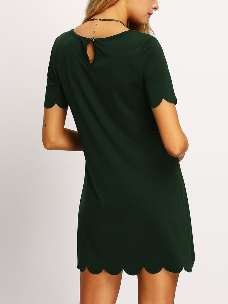Buttoned Keyhole Back Scallop Dress (3)