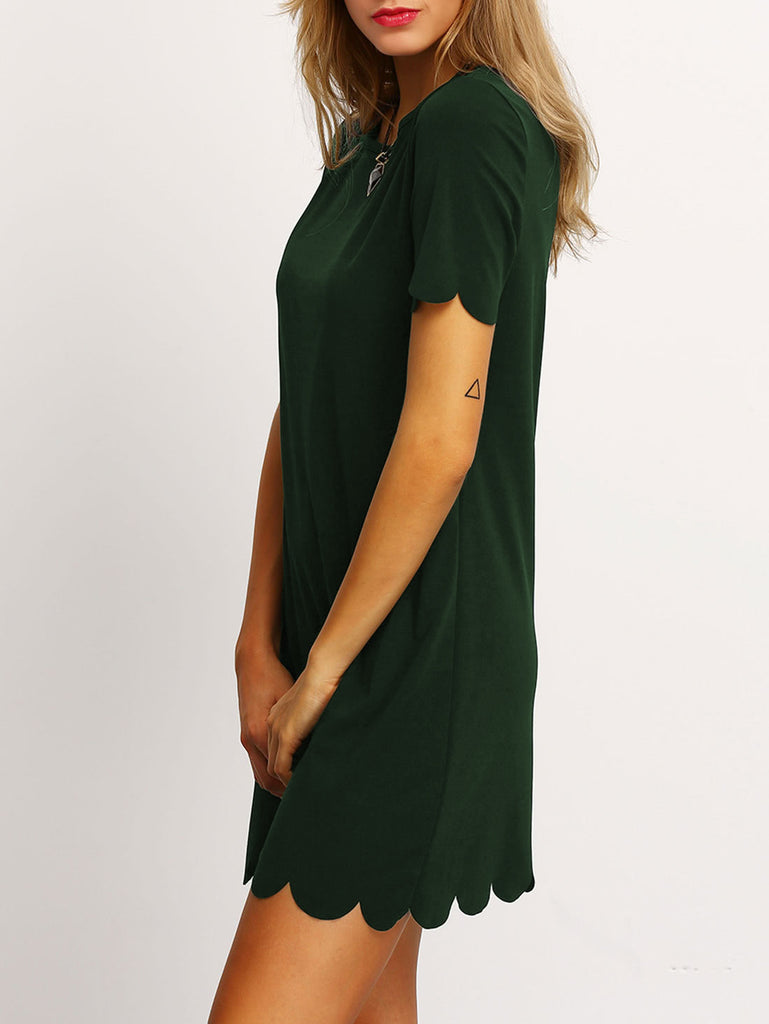 Buttoned Keyhole Back Scallop Dress (2)