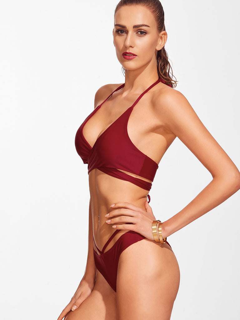 Cross Front Lace-Up Halter Bikini Set (4)