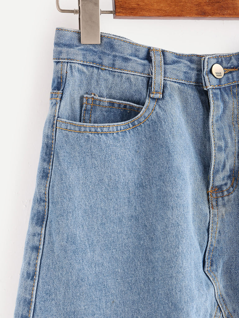 Light Wash Raw Hem Denim Skirt (2)
