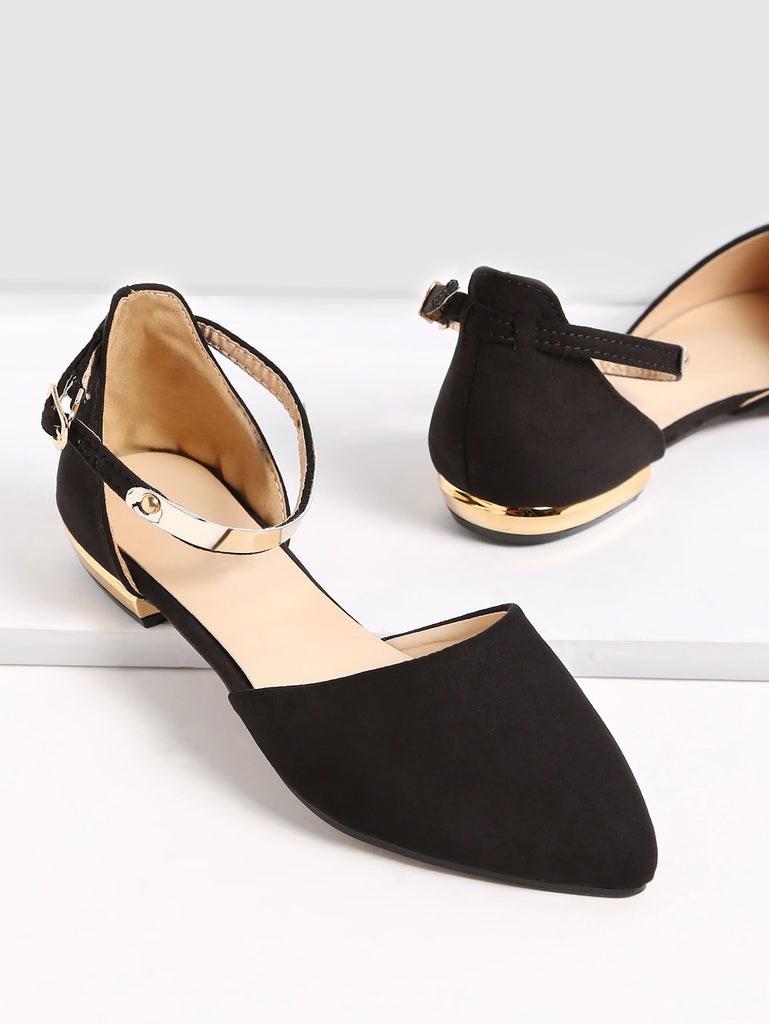 Black Point Toe Metallic Slingbacks Flats