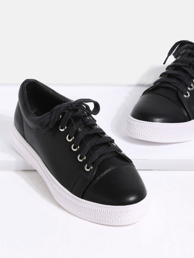 Black Round Toe Lace Up Sneakers