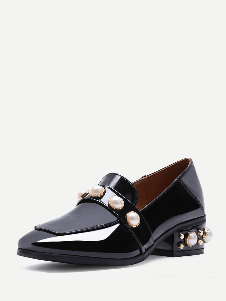 Black Pearl Studded Patent Leather Low Heel Loafers (2)