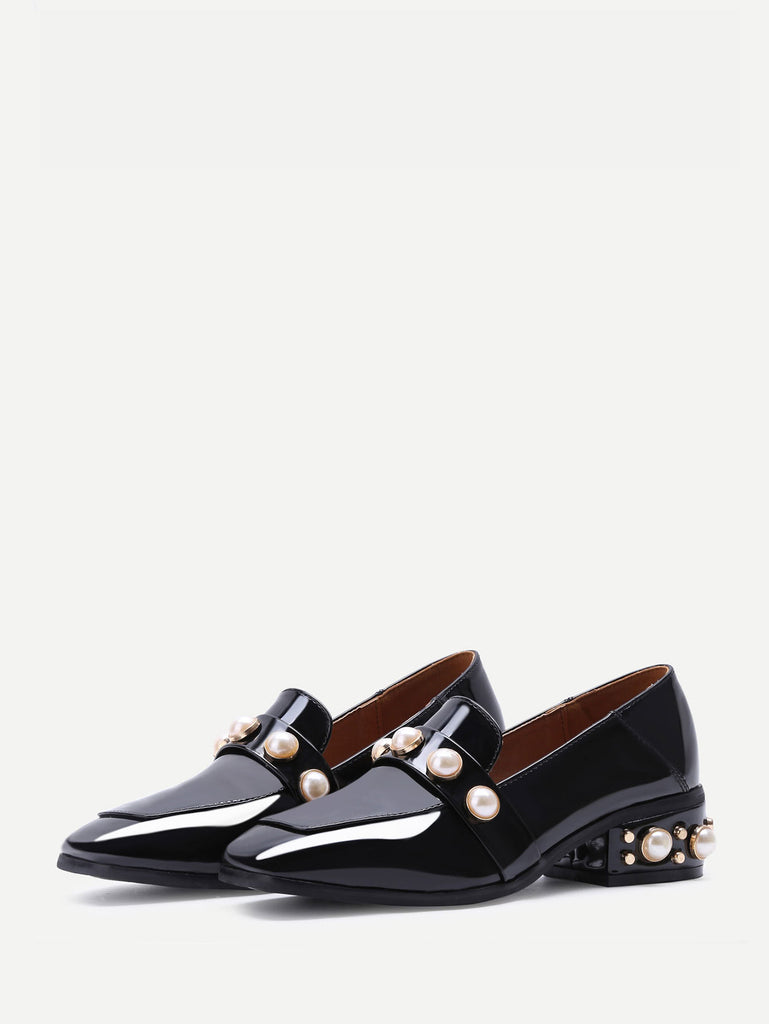 Black Pearl Studded Patent Leather Low Heel Loafers (3)