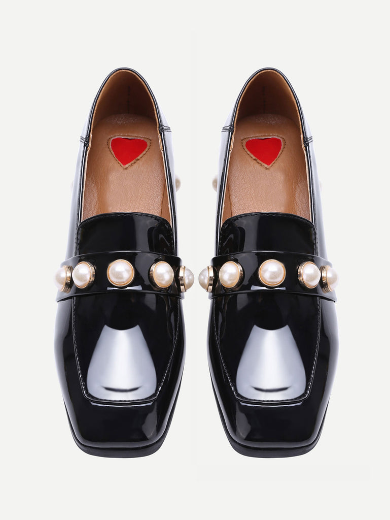 Black Pearl Studded Patent Leather Low Heel Loafers (4)