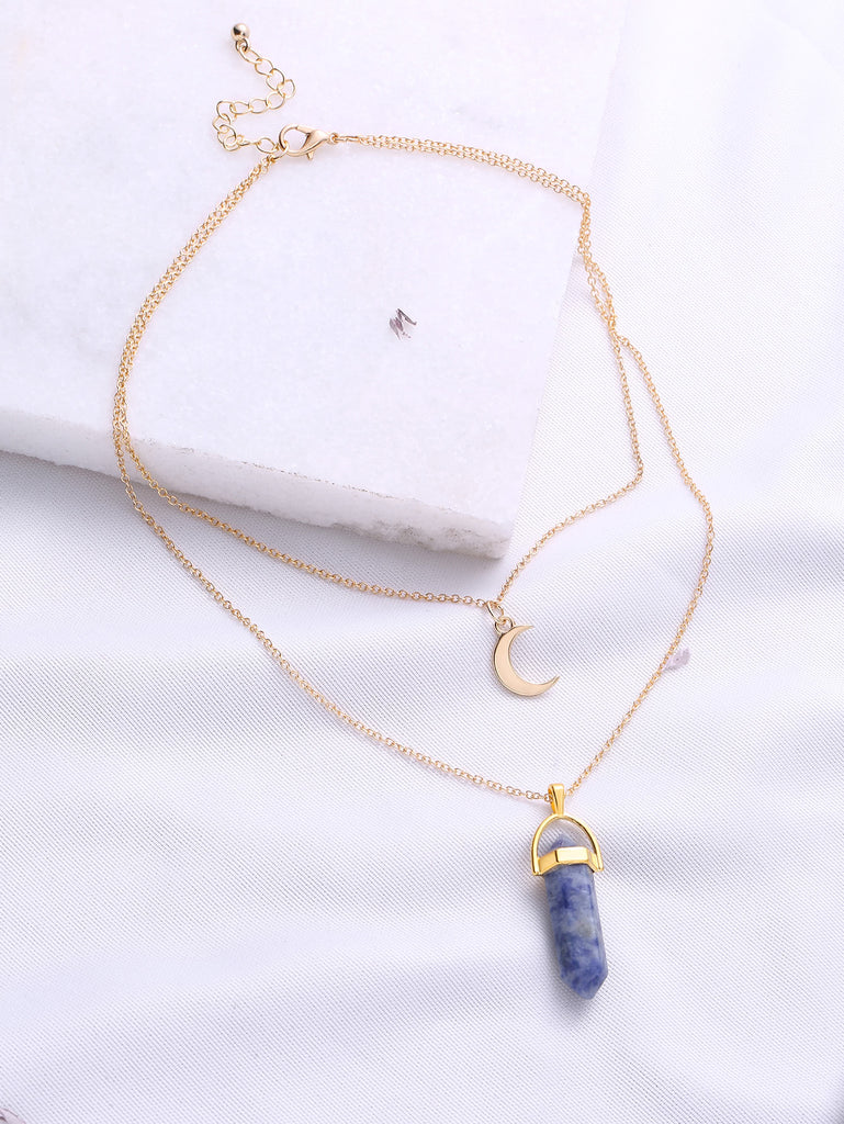 Gold Double Chain Moon Pendant Necklace