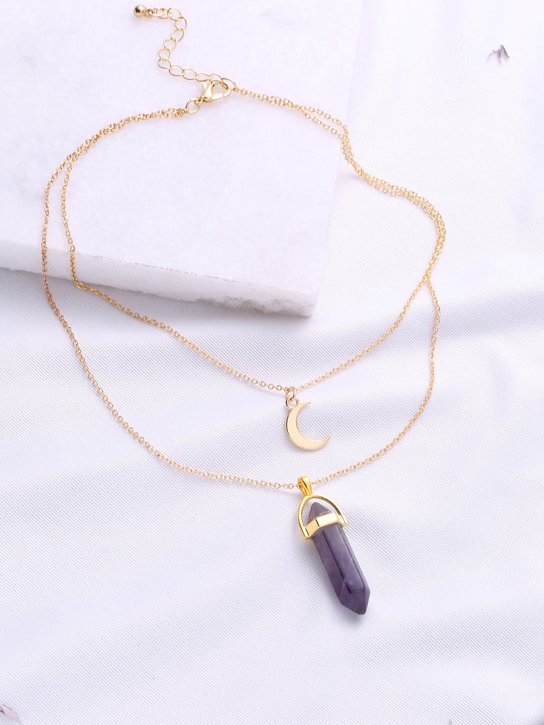 Purple Pendant Double Layered Necklace