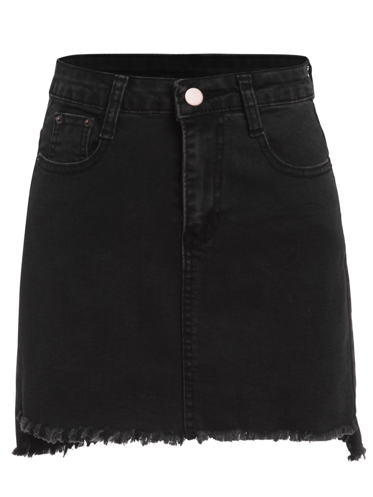 Button Pocket Raw Hem Denim Skirt