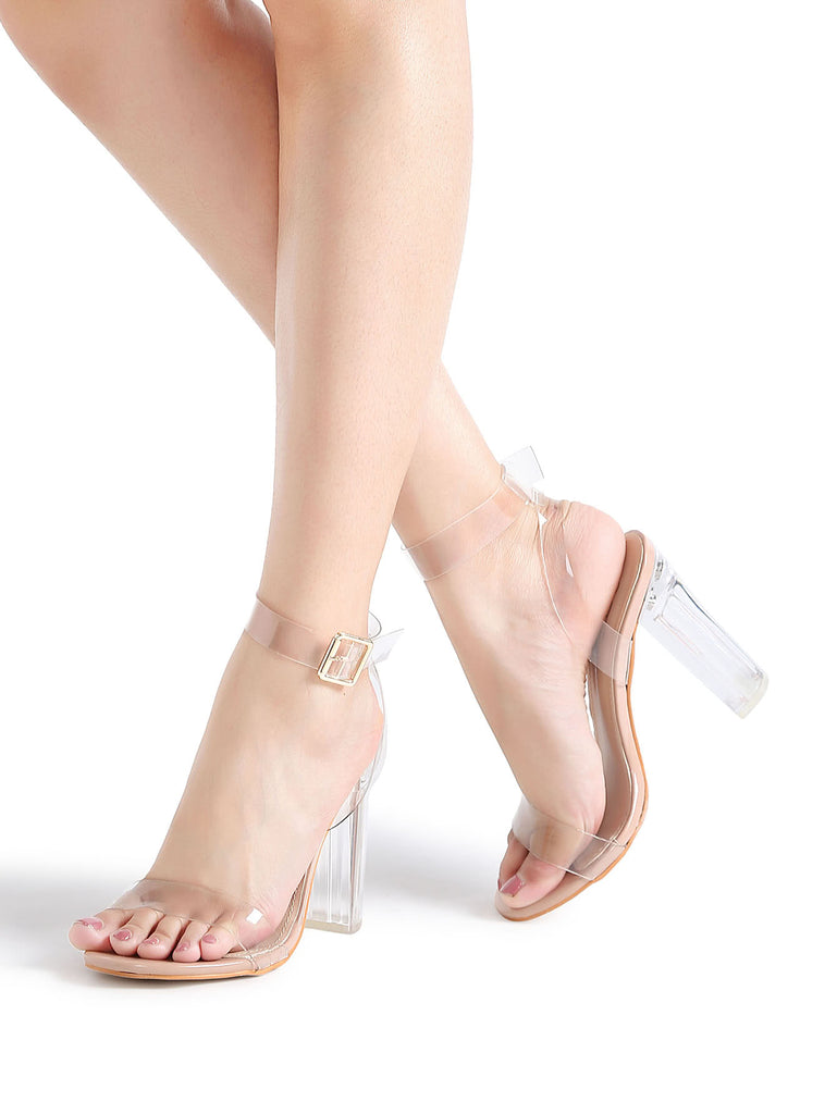 Ankle Strap Chunky Heeled Clear Sandals (2)