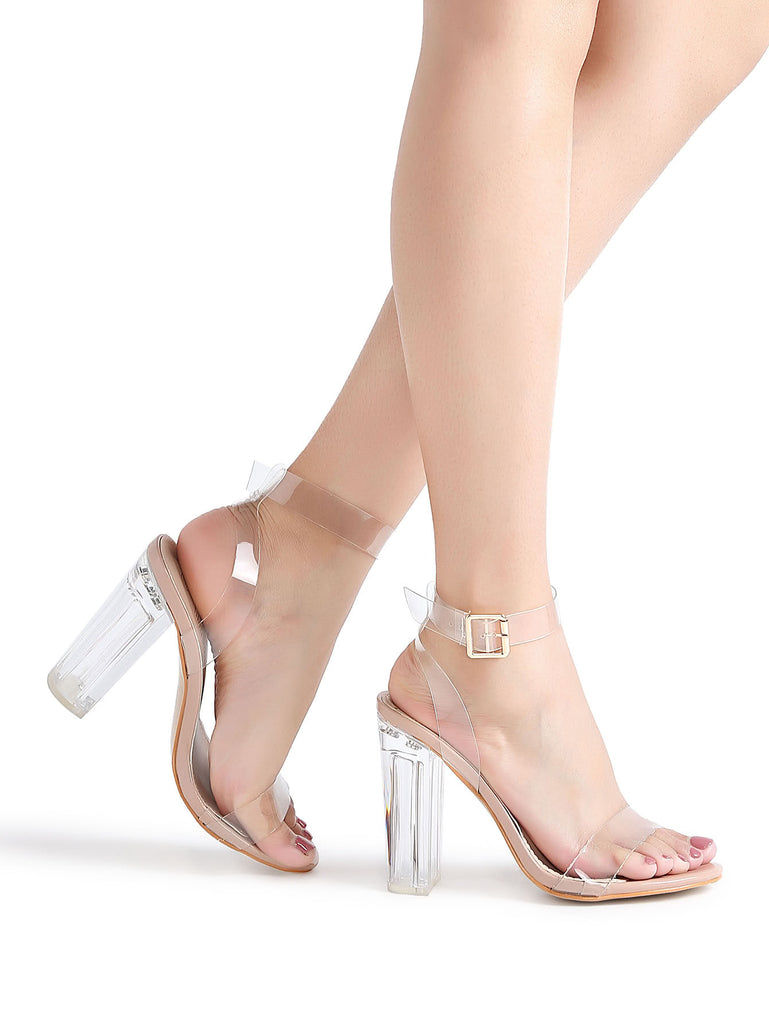 Ankle Strap Chunky Heeled Clear Sandals (3)