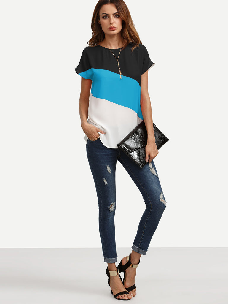 Color Block Keyhole Back Top (4)