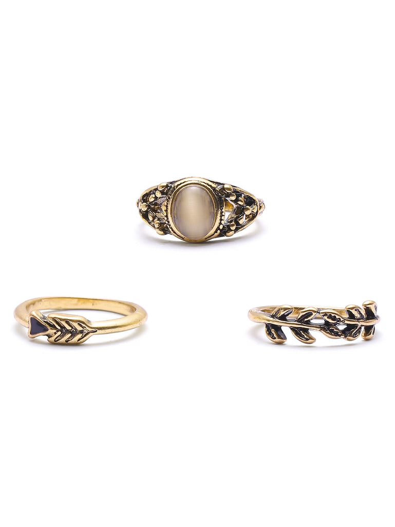 Gold Leaf Shaped Ring Set (4)