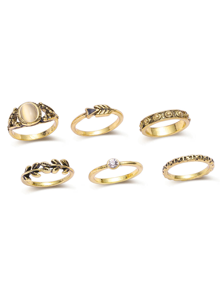 Gold Leaf Shaped Ring Set (2)