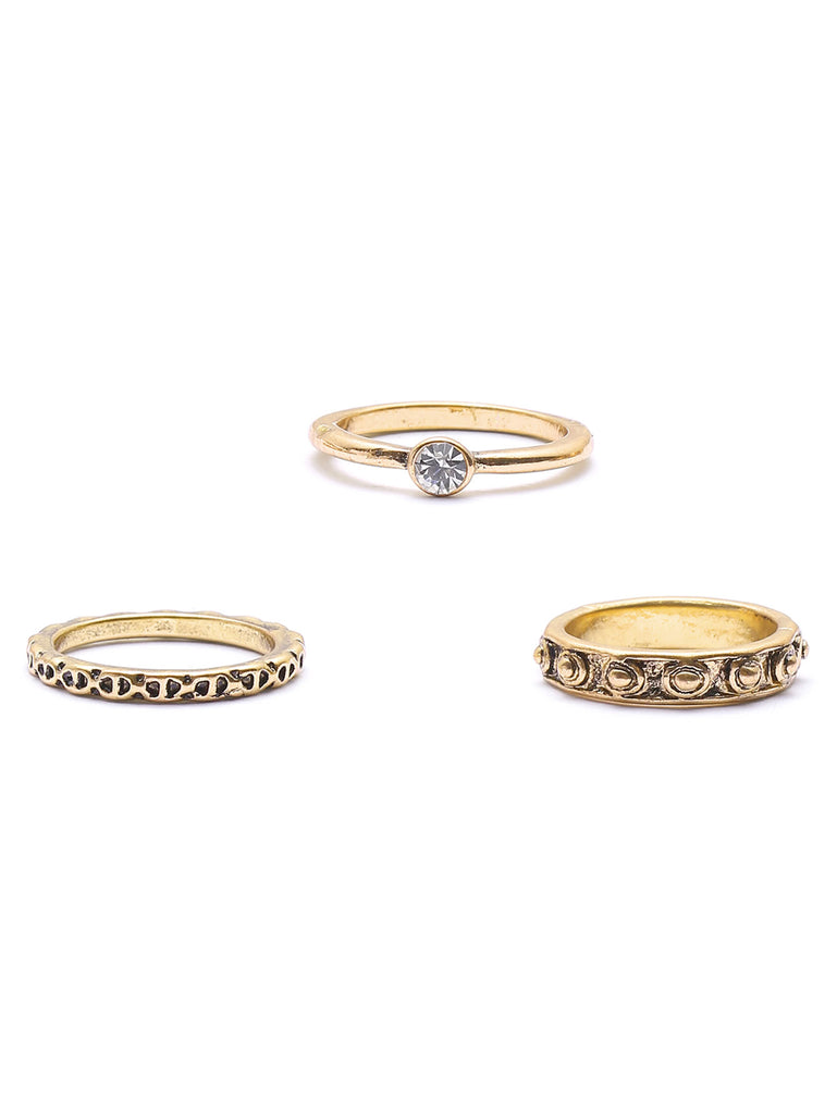 Gold Leaf Shaped Ring Set (3)