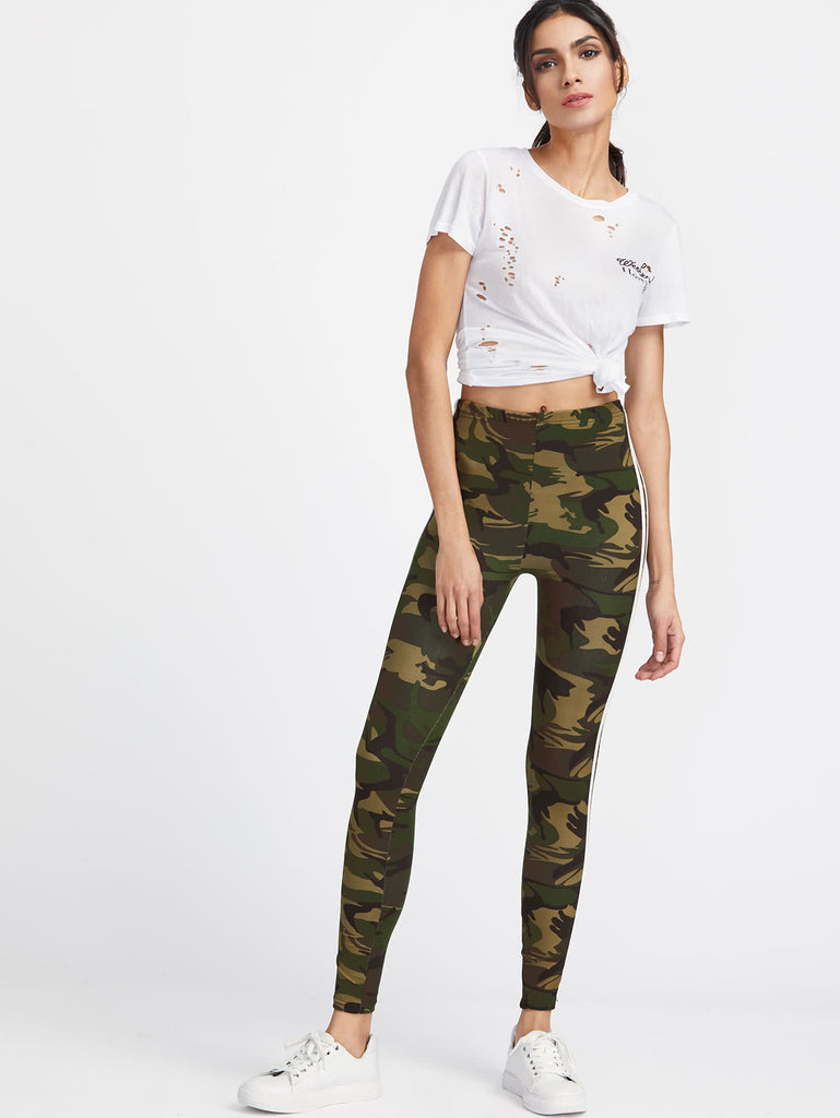 Camo Print Striped Side Leggings (2)
