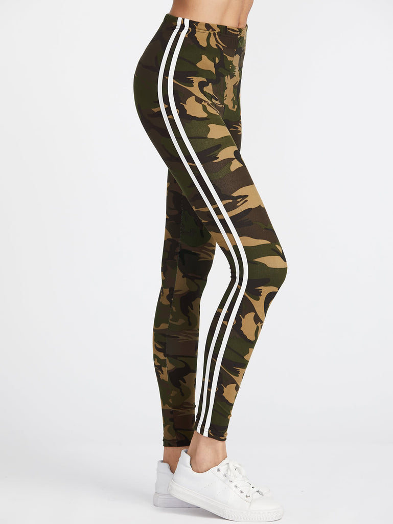 Camo Print Striped Side Leggings (3)