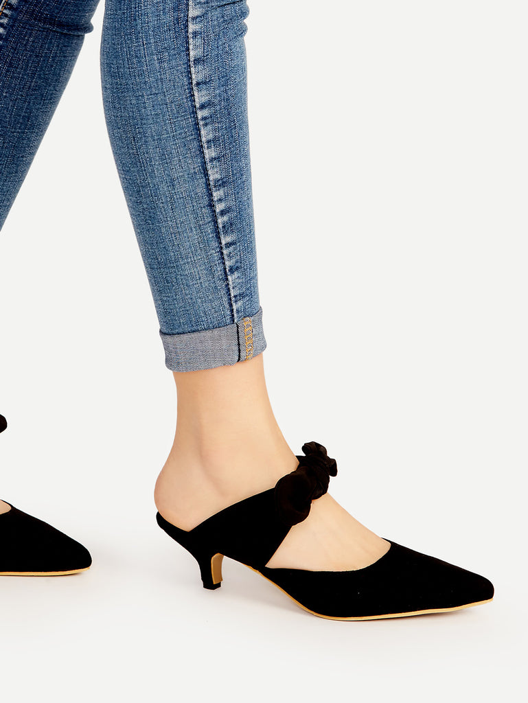 Black Point Toe Bow Tie Heeled Mules (3)