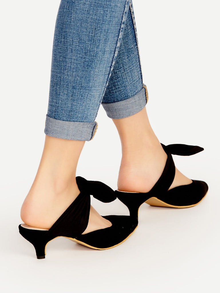 Black Point Toe Bow Tie Heeled Mules (2)