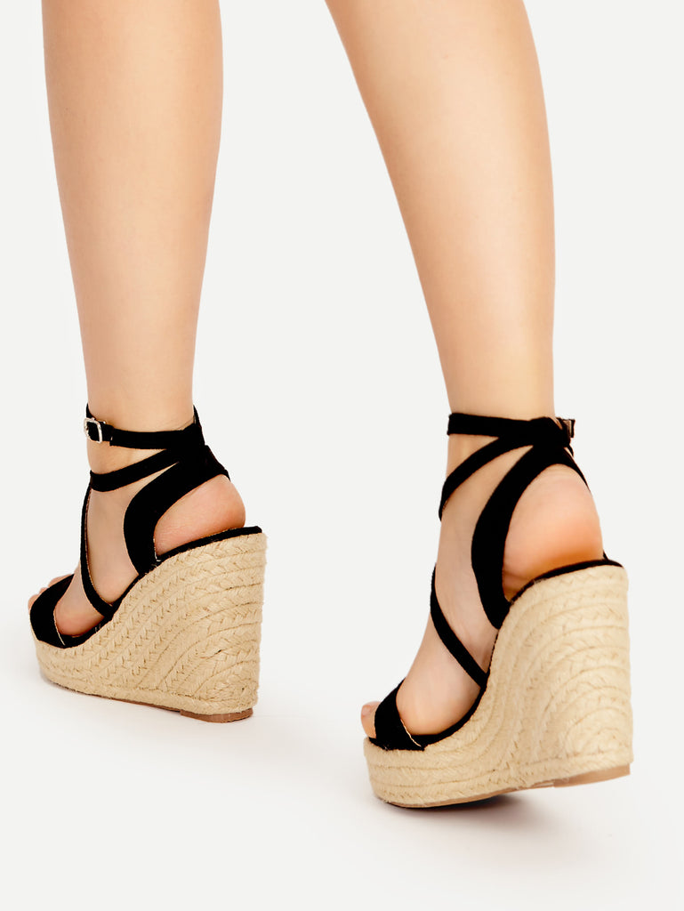 Cross Strap Espadrille Wedges (3)