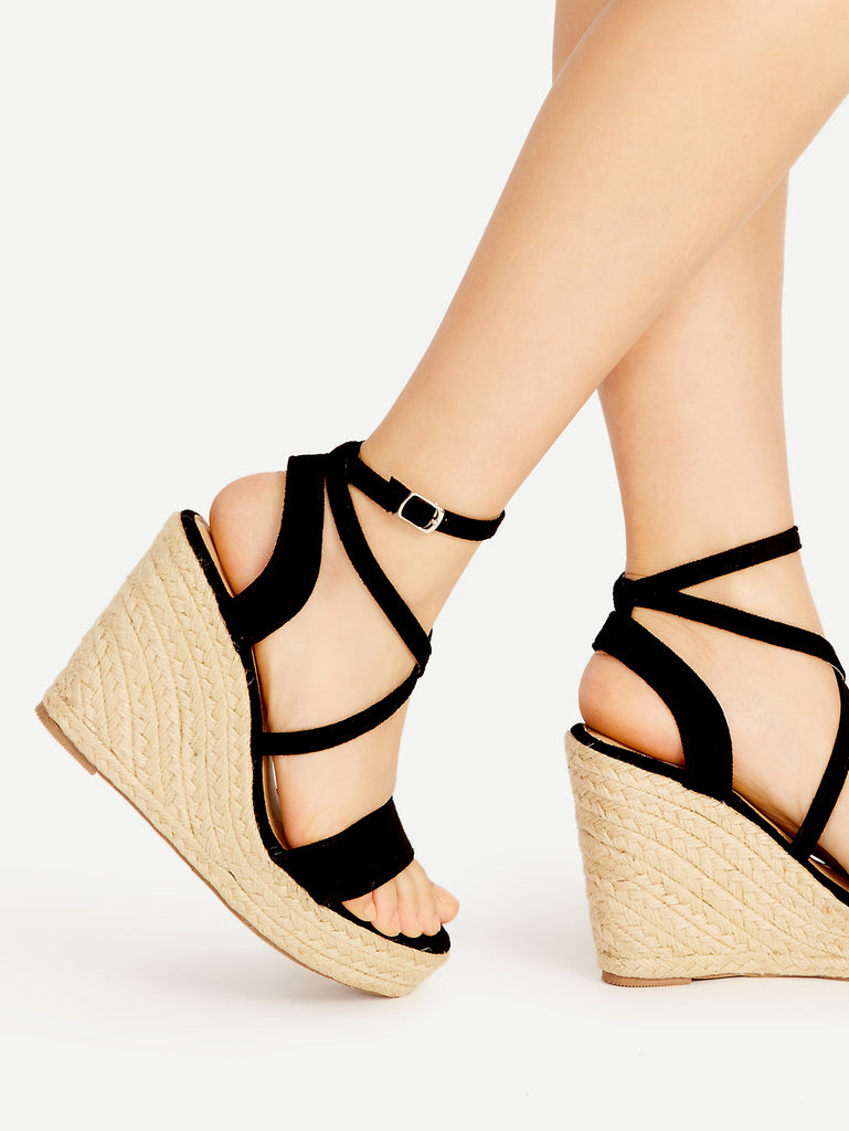 Cross Strap Espadrille Wedges (2)