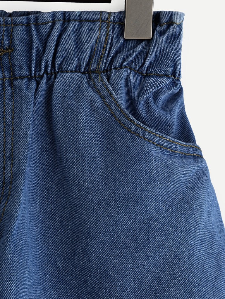 Elastic Waist Roll Cuff Denim Shorts (2)