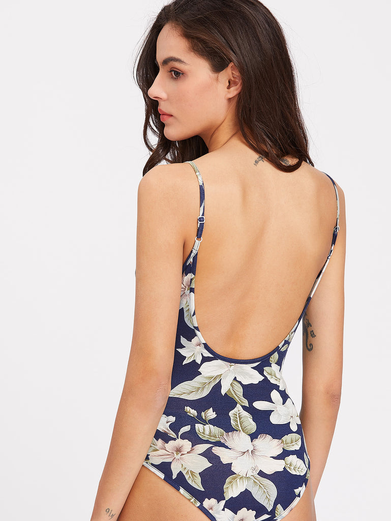 Flower Print Low Back Plunging Cami Bodysuit (4)