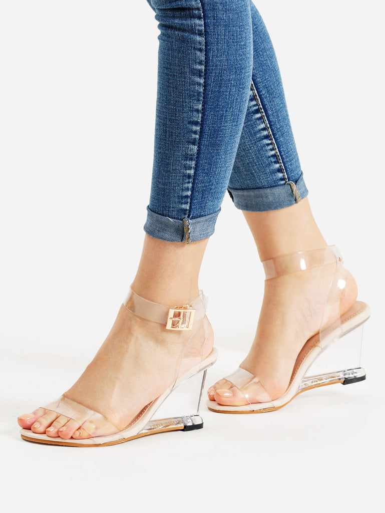 Metal Buckle Strappy Wedge Sandals (2)