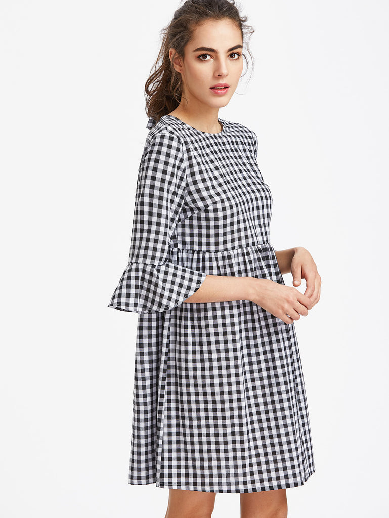Bow Tie Open Back Fluted Sleeve High Waist Gingham Dress (2)