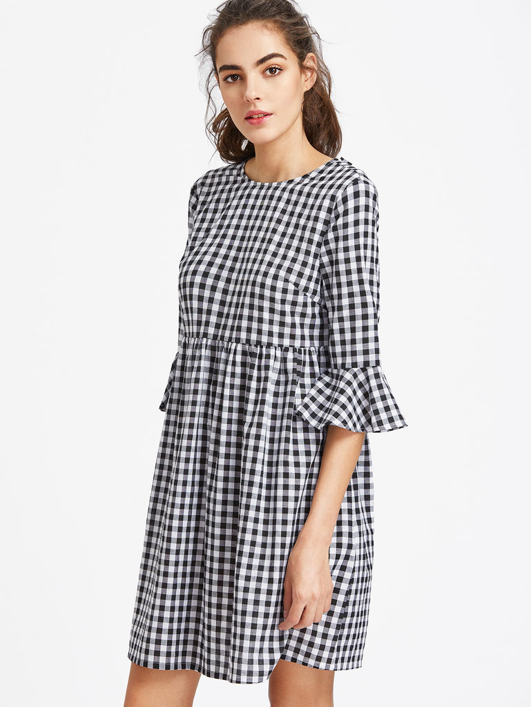 Bow Tie Open Back Fluted Sleeve High Waist Gingham Dress (3)