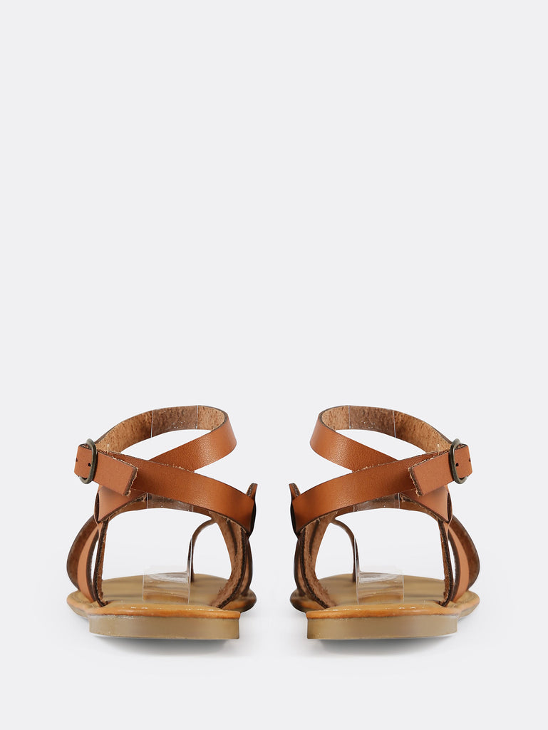 Multi Strap Gladiator Ankle Sandals TAN (3)