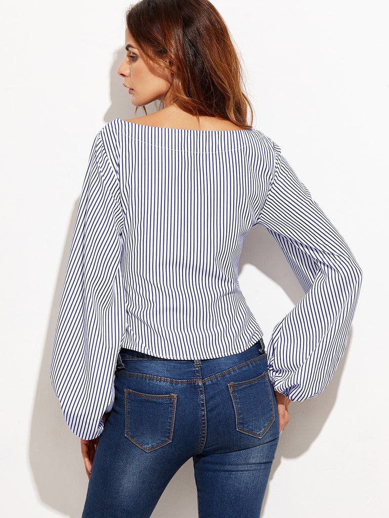 Bow Belted Front Exaggerated Lantern Sleeve Striped Top (4)