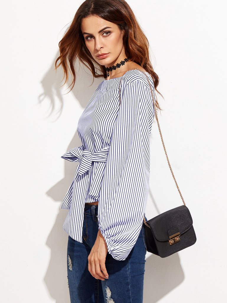 Bow Belted Front Exaggerated Lantern Sleeve Striped Top (3)