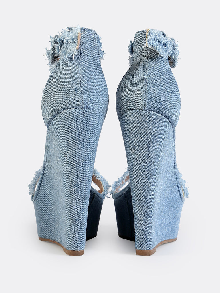 Distressed Denim Wedges BLUE DENIM (3)