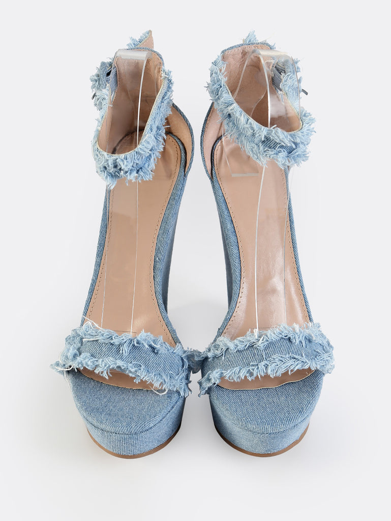 Distressed Denim Wedges BLUE DENIM (2)