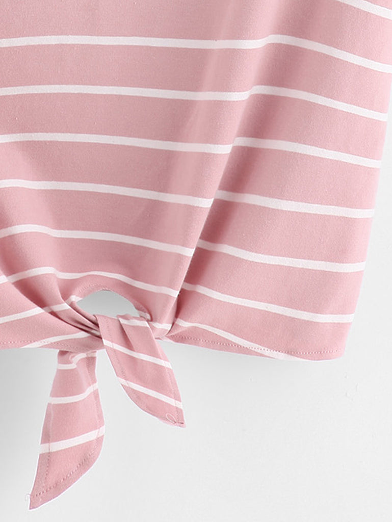 Knot Front Cuffed Sleeve Striped Tee (3)