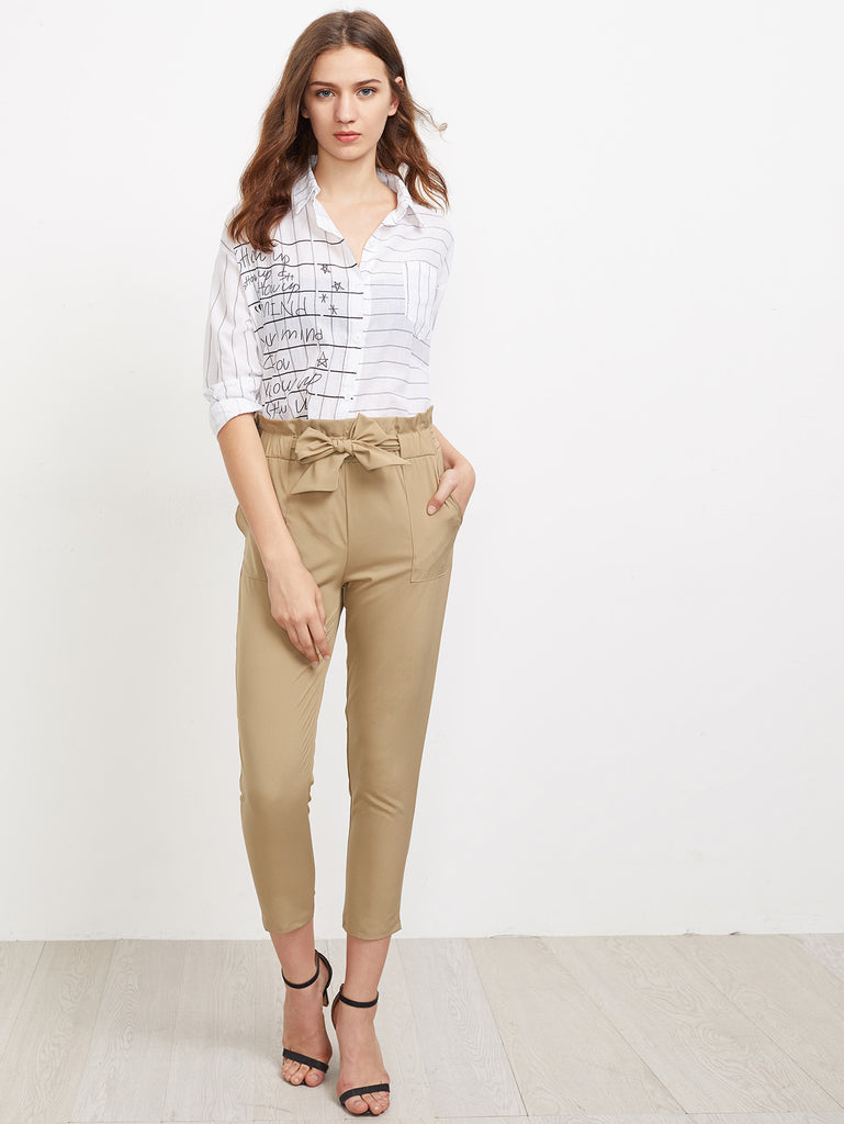 Frill Waist Self Tie Tailored Pants (2)