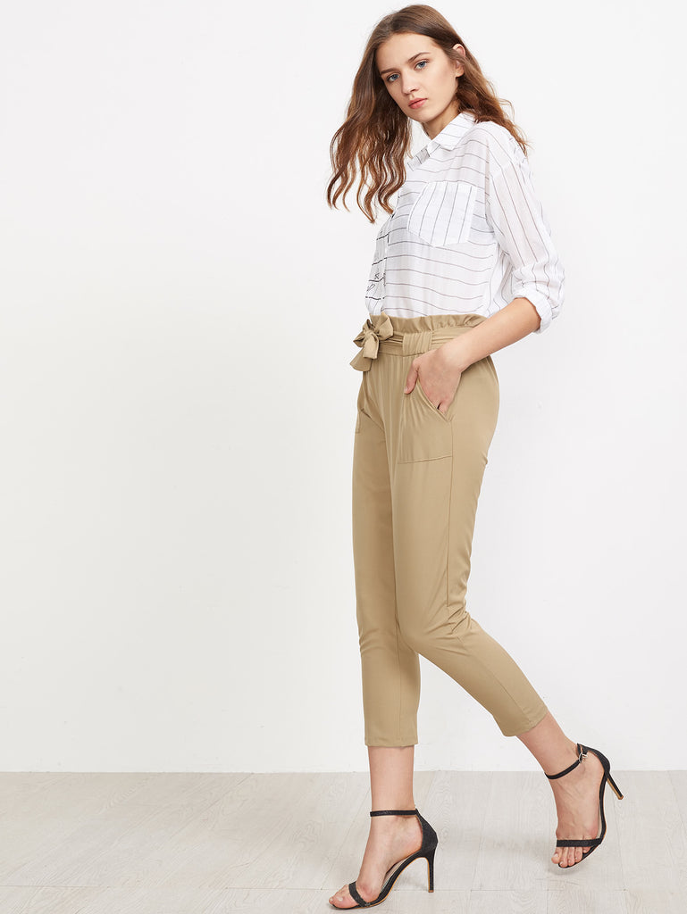 Frill Waist Self Tie Tailored Pants (3)
