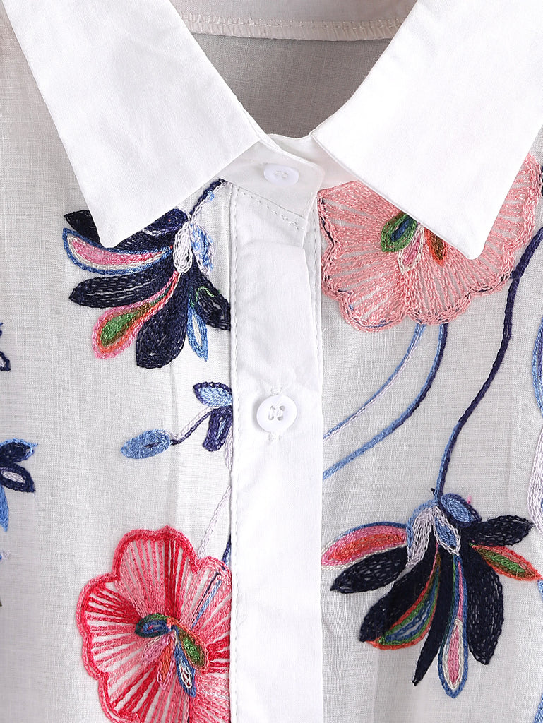 Embroidery Rolled Sleeve Shirt (2)