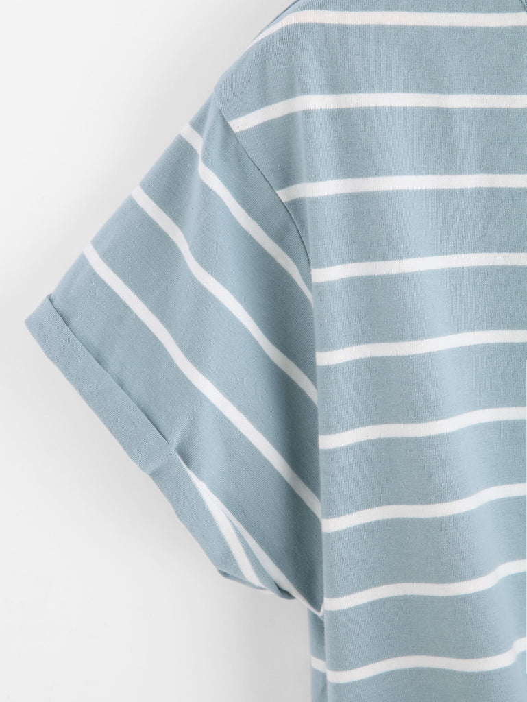 Knot Front Cuffed Sleeve Striped Tee (2)