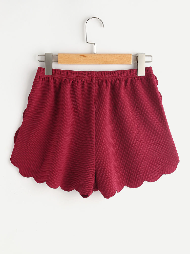 Elasticized Waist Scallop Edge Textured Shorts (3)