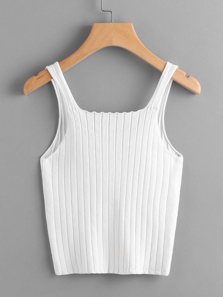 Button Front Rib Knit Tank Top (3)