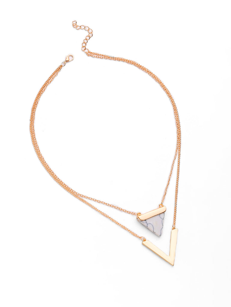 Metal V Shaped And Triangle Design Layered Necklace