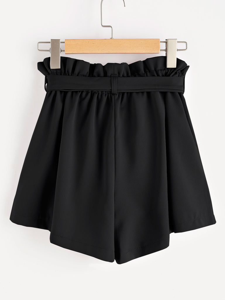 Frill Waist Self Tie Shorts (3)