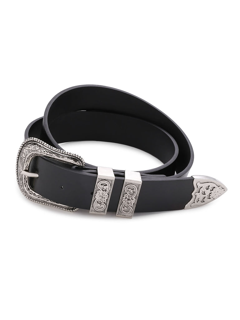 Contrast Buckle Faux Leather Western Belt