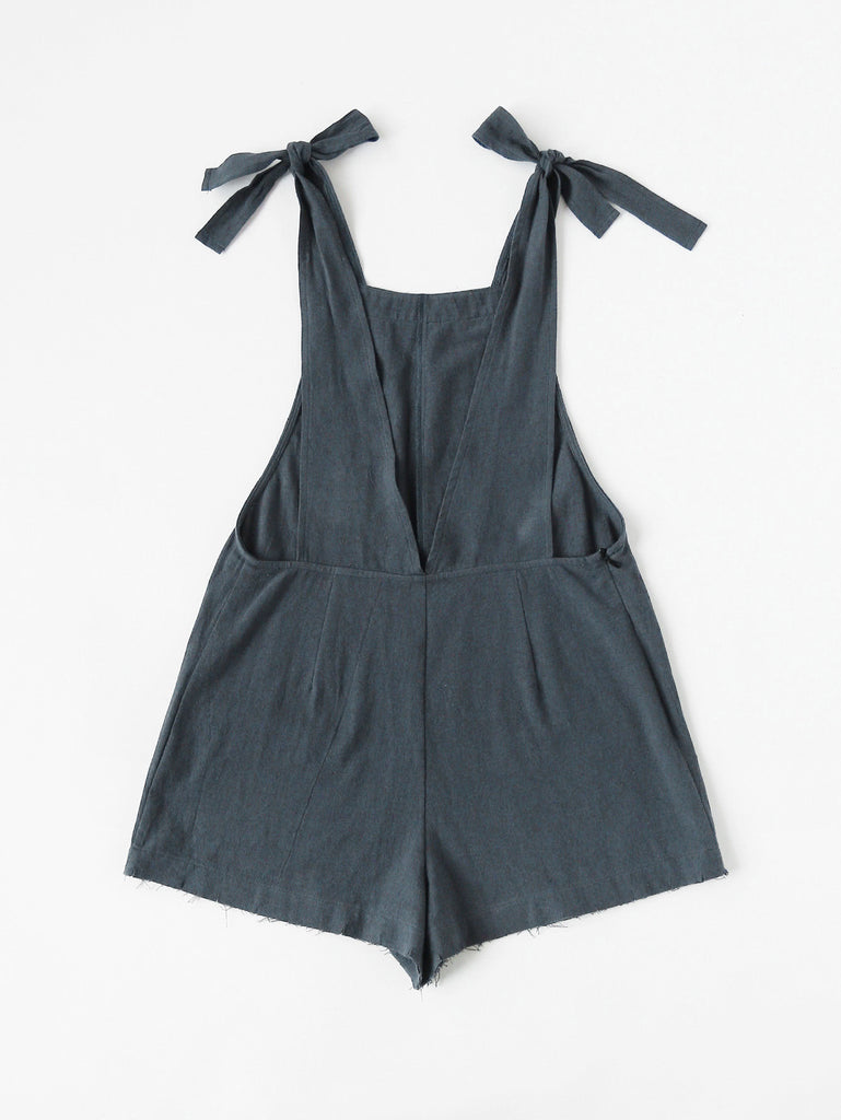Self Tie Raw Hem Pinafore Romper (4)